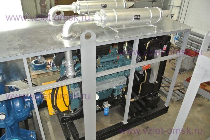 Фото дизельной насосной станции под навесом с насосом Д