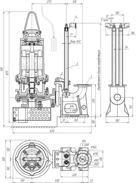Картинка с габаритными размерами насоса Иртыш ПД 32/200.194-5,5/2-106