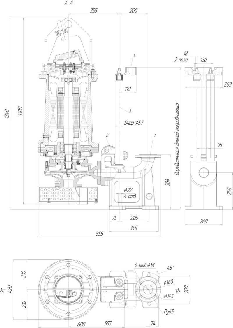 Картинка с габаритными размерами насоса Иртыш ПД 32/200.185-4/2-116