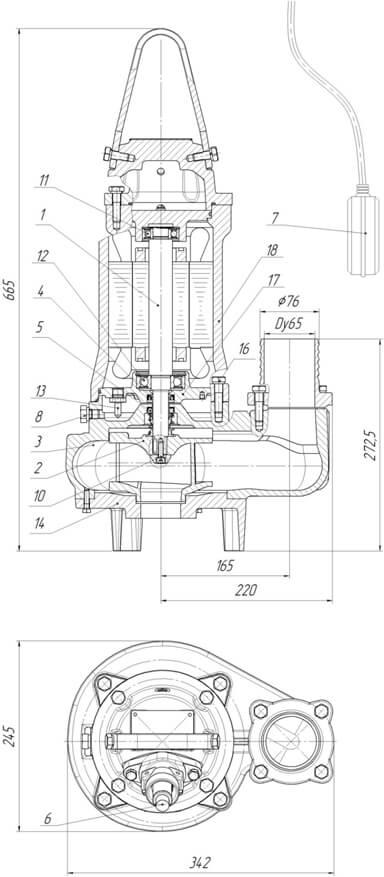 Картинка с габаритными размерами насоса ПФ1 65/160.132-3/2-026
