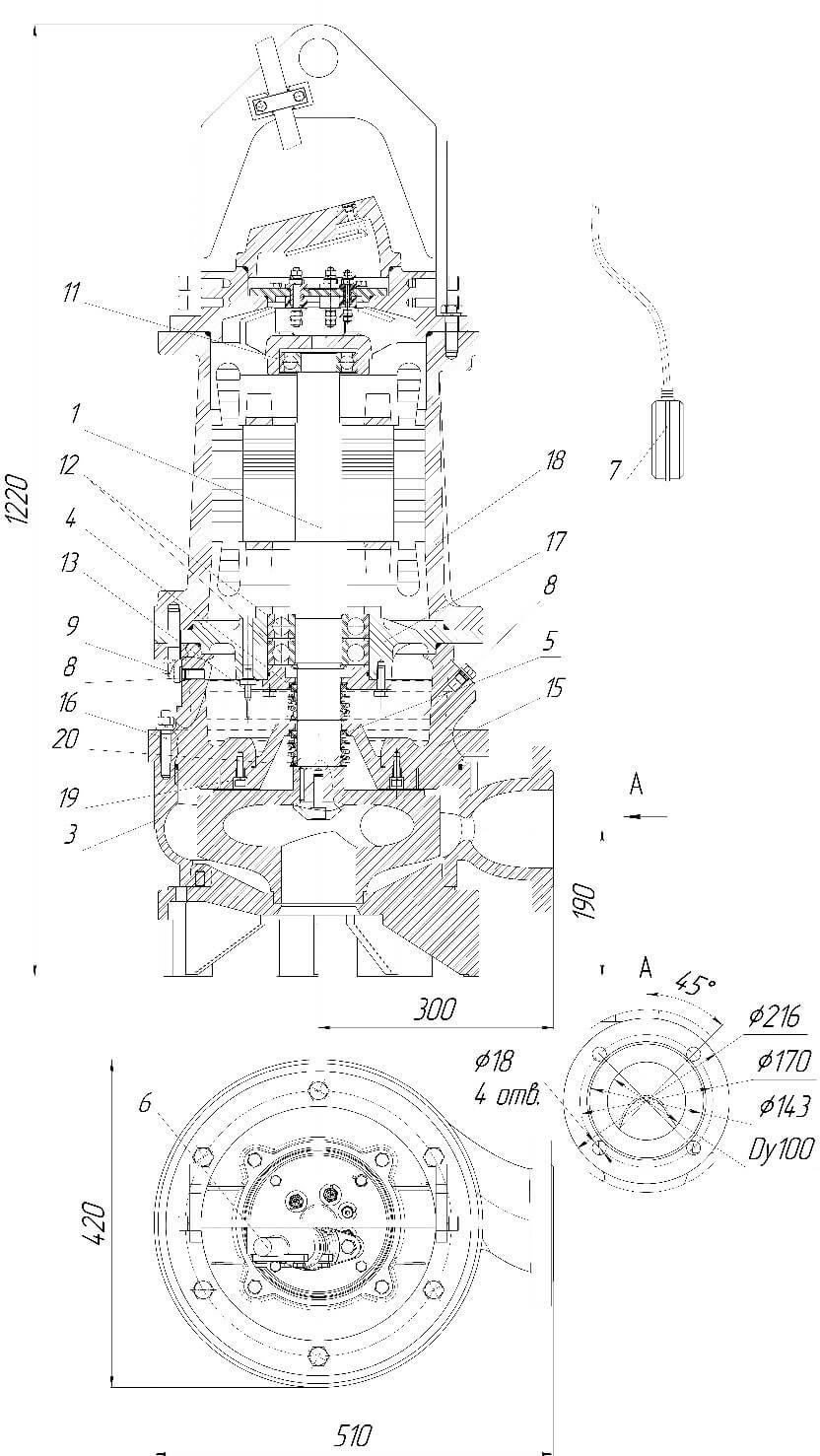 Картинка с габаритными размерами насоса Иртыш ПФ2 100/310.300-15/4-036