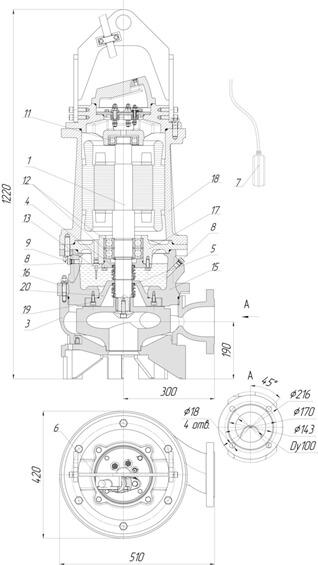 Картинка с габаритными размерами насоса Иртыш ПФ2 100/310.310-15/4-016