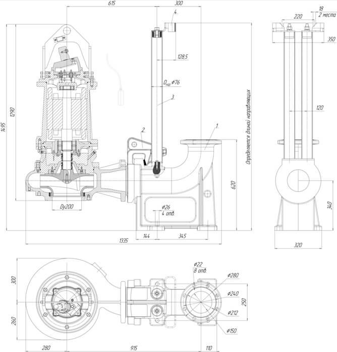 Картинка с габаритными размерами насоса Иртыш ПФ2 150/315.311-30/4-106