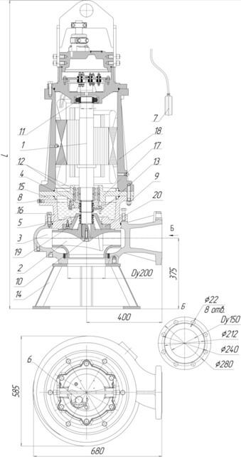 Картинка с габаритными размерами насоса Иртыш ПФ2 150/315.332-45/4-006