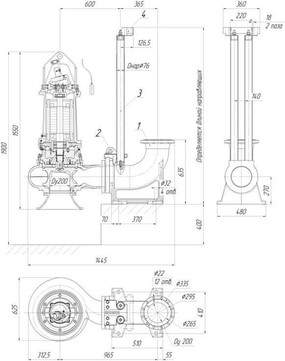 Картинка с габаритными размерами насоса Иртыш ПФ2 200/360.313-18,5/6-116