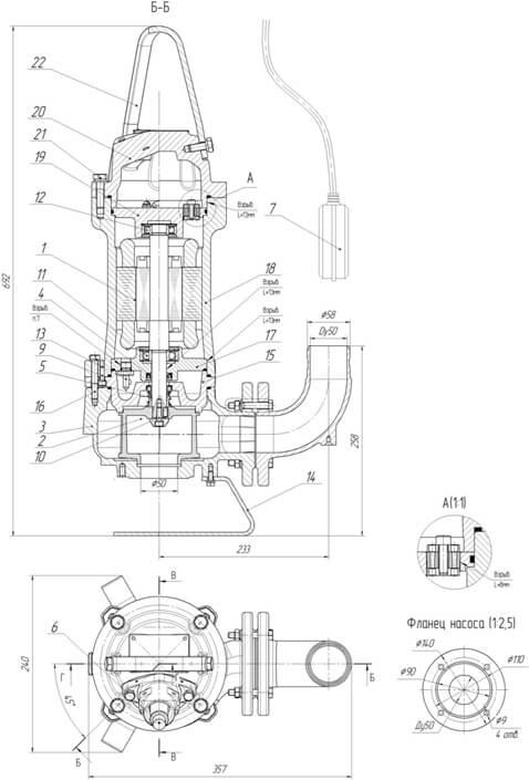 Картинка с габаритными размерами насоса ПФ2 50/125.105-М1,1/2Ех-006