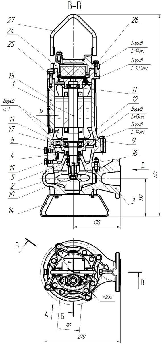 Картинка с габаритными размерами насоса ПФ2 50/140.126-3/2Ех-016