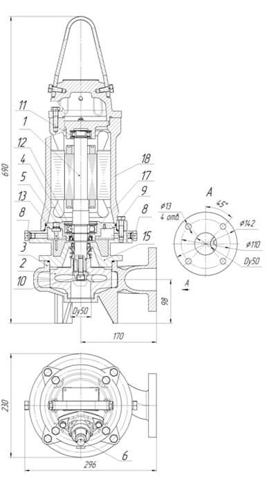 Картинка с габаритными размерами насоса Иртыш ПФ2 50/140.137-3/2-026