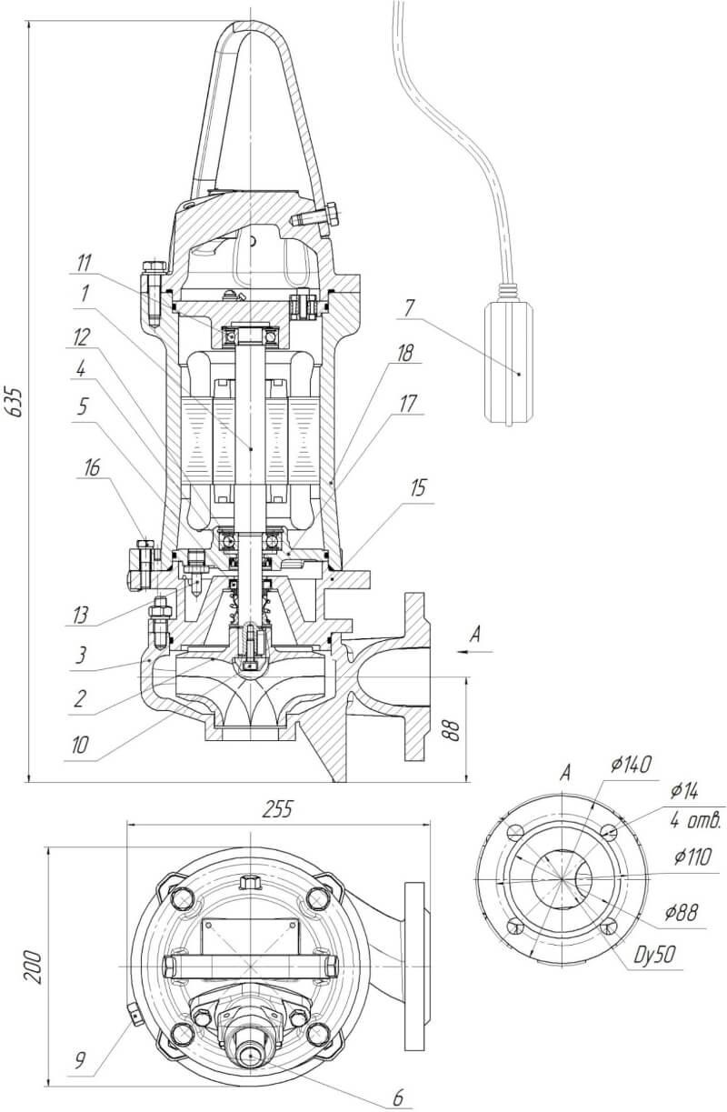 Картинка с габаритными размерами насоса Иртыш ПФ2 50/140.138-3/2-026