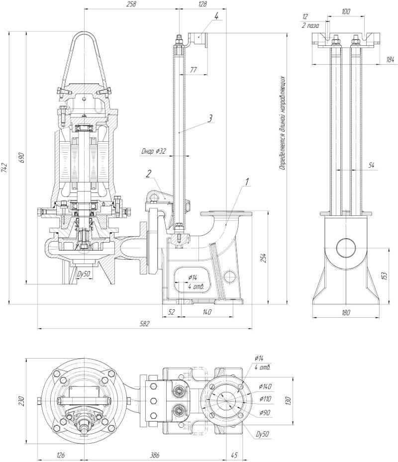 Картинка с габаритными размерами насоса Иртыш ПФ2 50/140.138-3/2-126