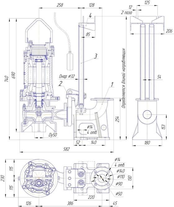 Картинка с габаритными размерами насоса ПФ2 50/150.125-3/2Ех-106