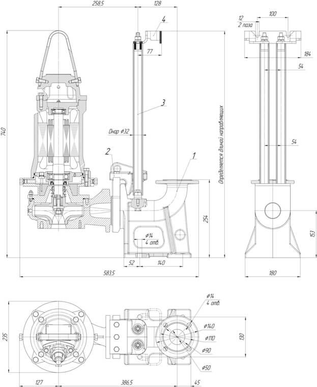 Картинка с габаритными размерами насоса Иртыш ПФ2 50/150.156-3/2-136