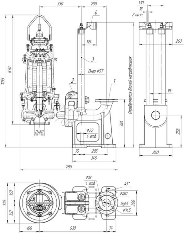 Картинка с габаритными размерами насоса Иртыш ПФ2 50/200.200-11/2-116