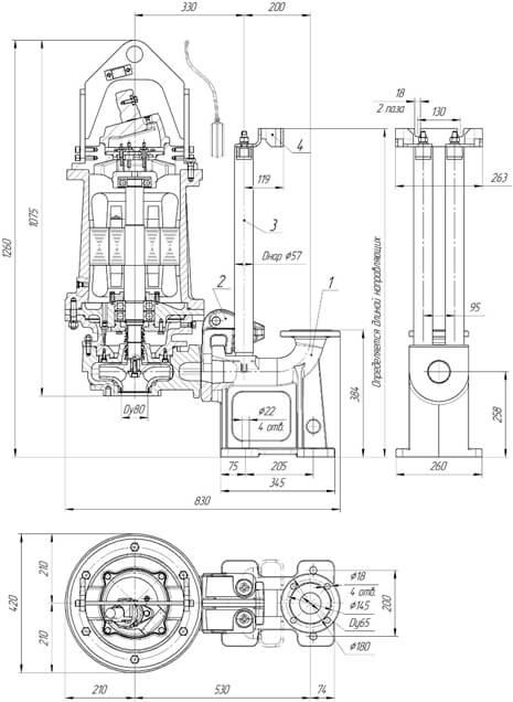 Картинка с габаритными размерами насоса Иртыш ПФ2 50/200.209-15/2-116
