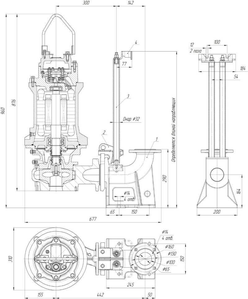Картинка с габаритными размерами насоса Иртыш ПФ2 65/165.165-7,5/2-106