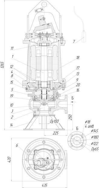 Картинка с габаритными размерами насоса Иртыш ПФ2 65/200.180-18,5/2-016