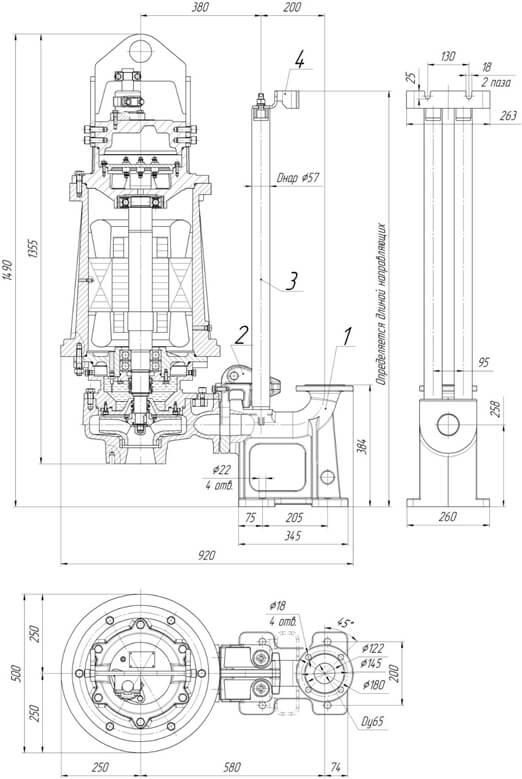 Картинка с габаритными размерами насоса Иртыш ПФ2 65/250.240-37/2-146