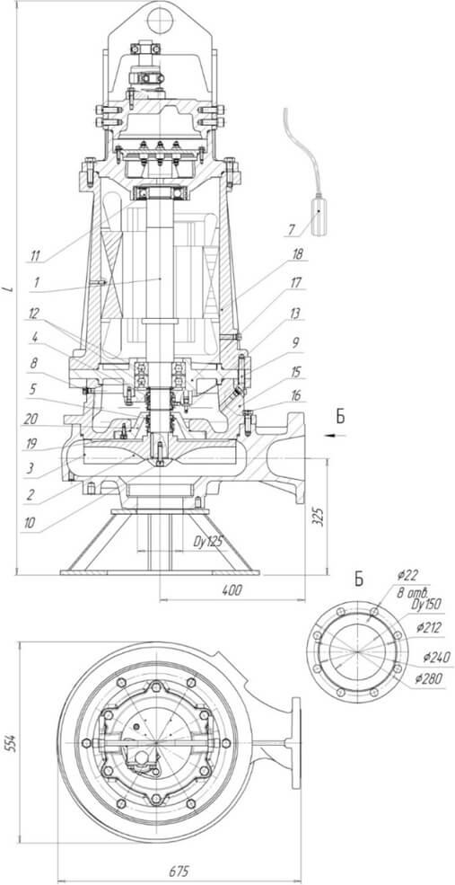 Картинка с габаритными размерами насоса Иртыш ПФС 125/400.384-45/4-036