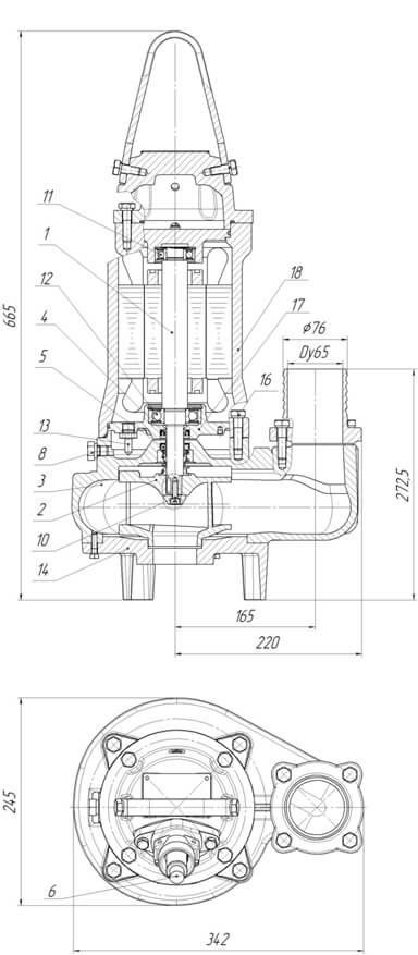 Картинка с габаритными размерами насоса Иртыш ПФС 65/160.148-3/2-006