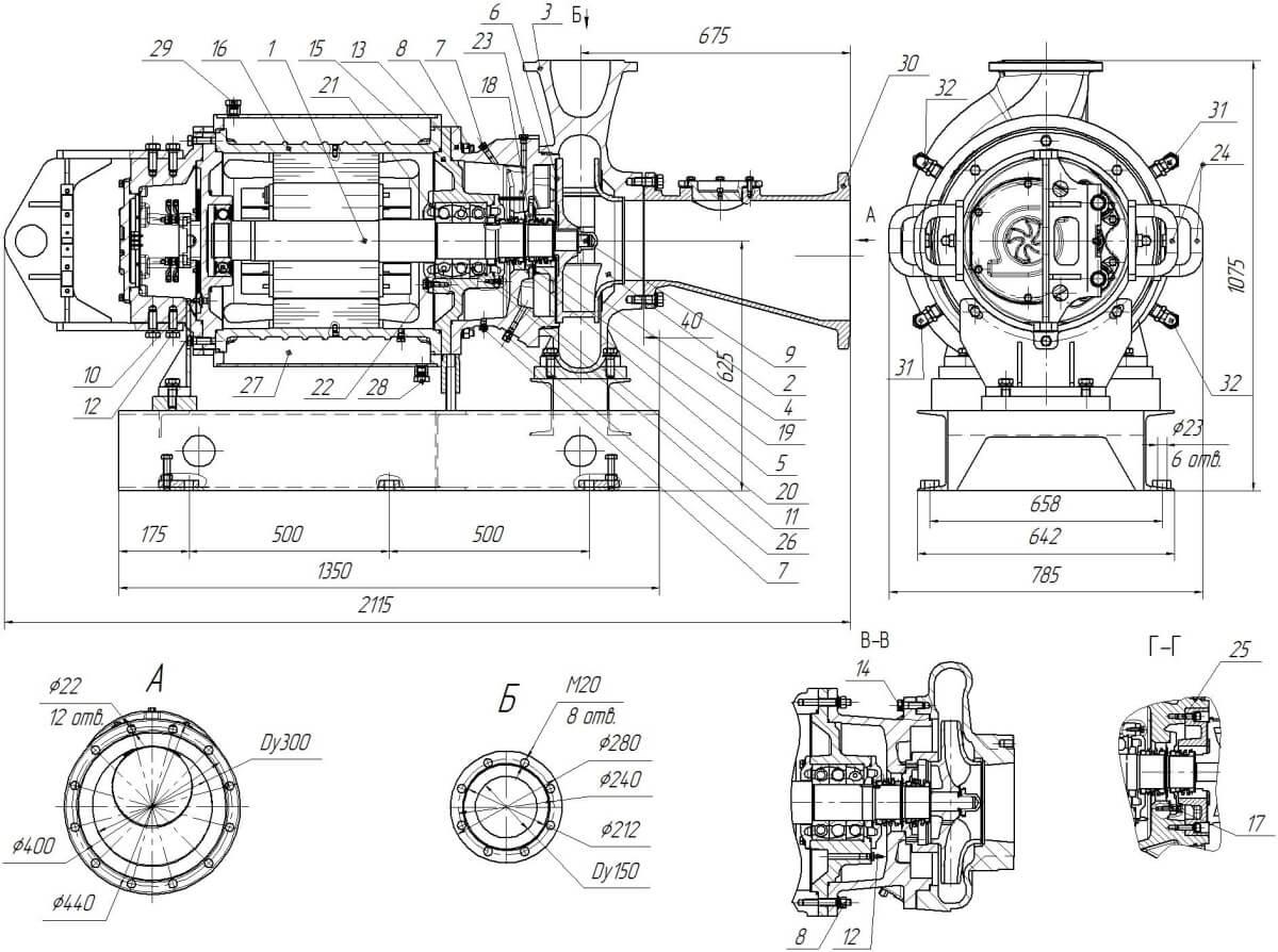 Картинка с габаритными размерами насоса Иртыш ПФ3 200/400.453-200/4-106