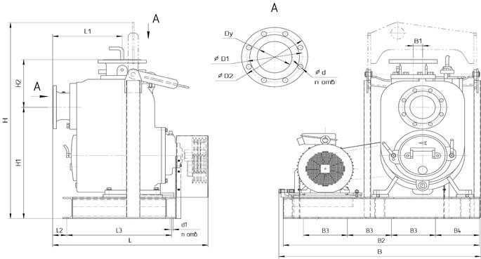 Картинка с габаритными размерами насоса НС2 50/175.175