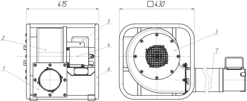 Габаритные и присоединительные размеры вентилятора ВП-1000 (12 В)